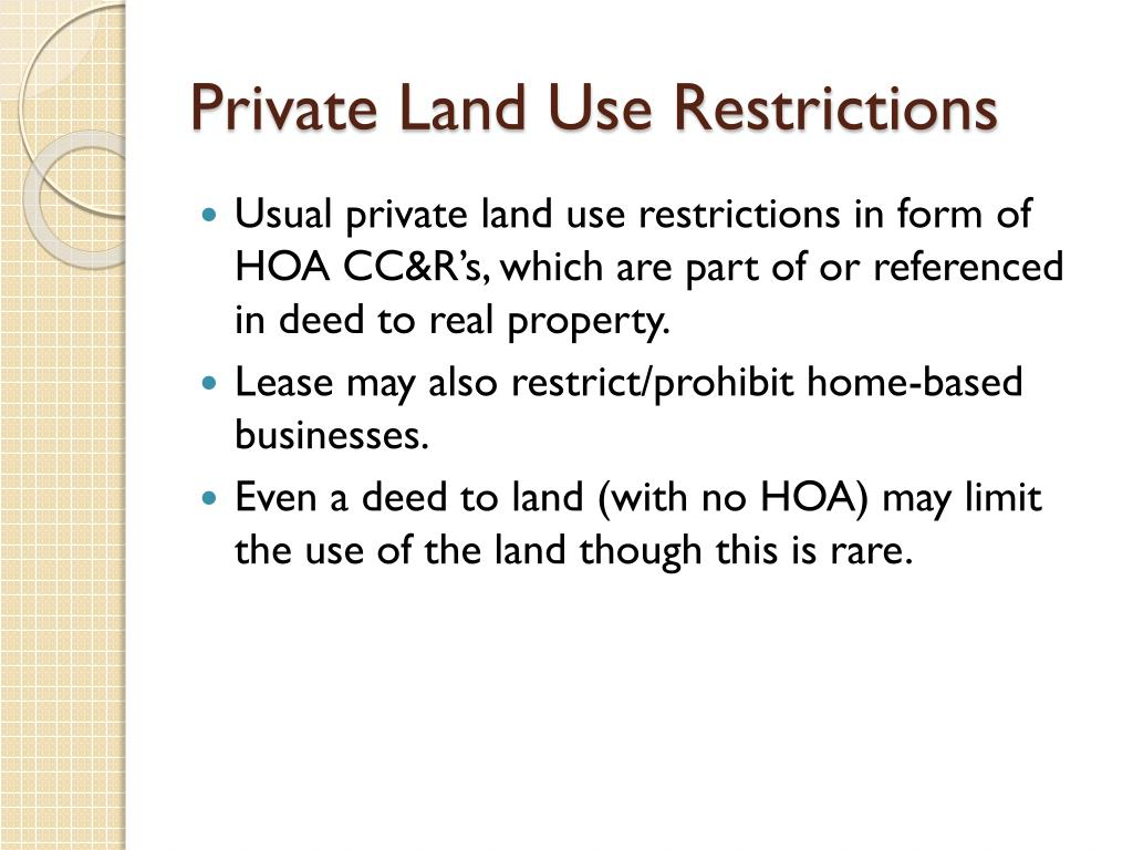 Private Land Use Restrictions