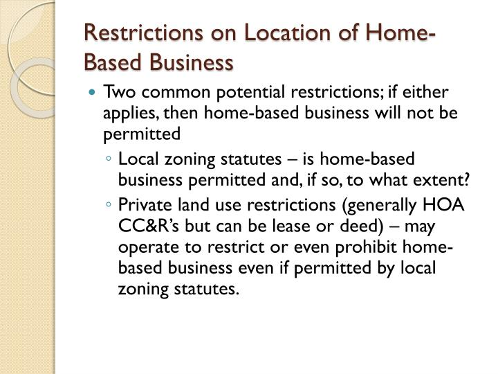 Restrictions on location of home based business