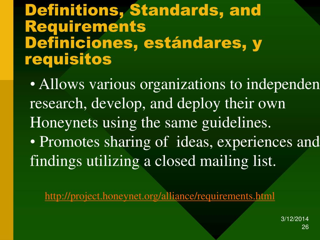 Definitions, Standards, and Requirements