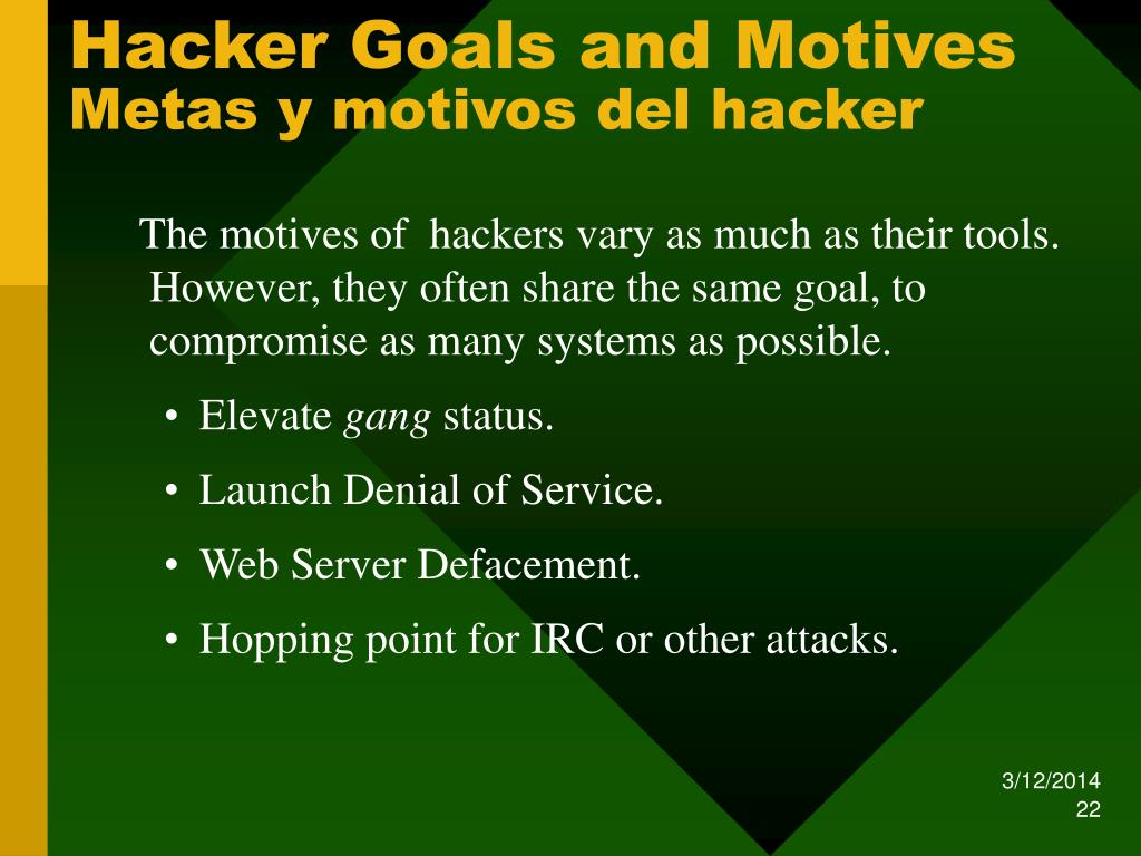 Hacker Goals and Motives