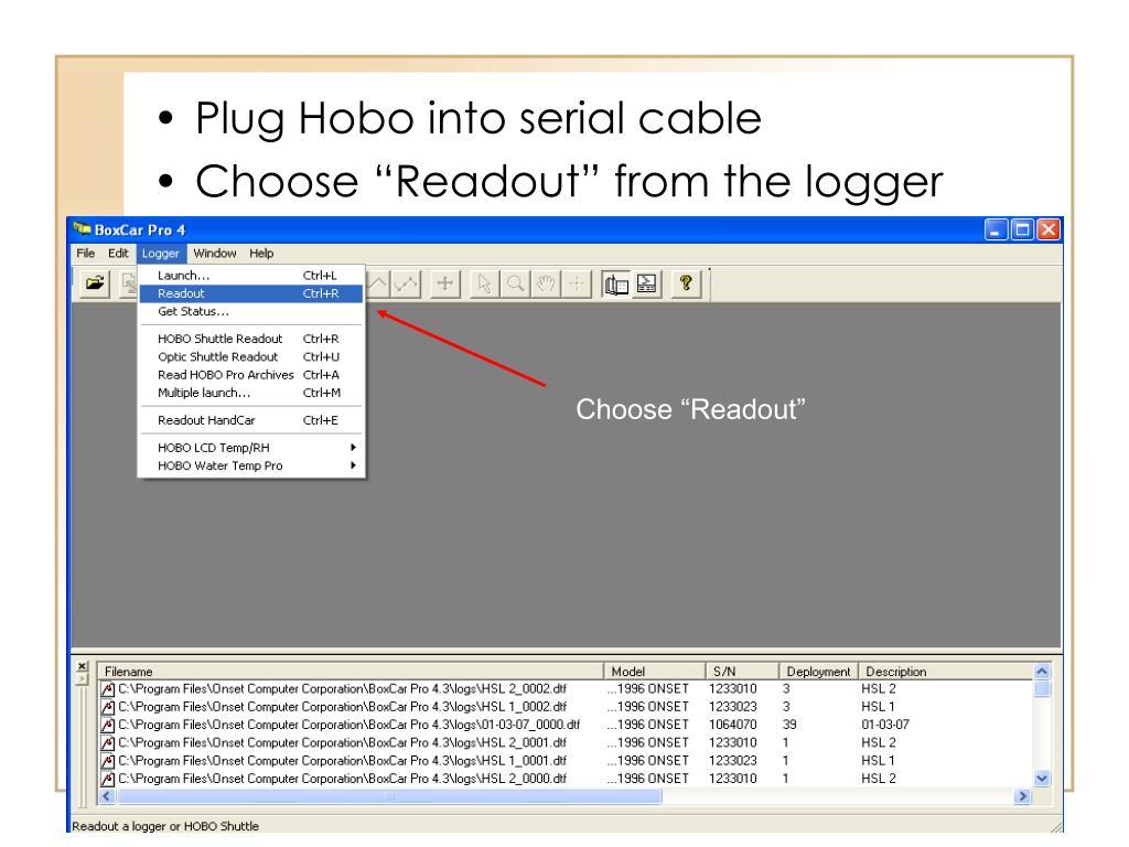 Plug Hobo into serial cable