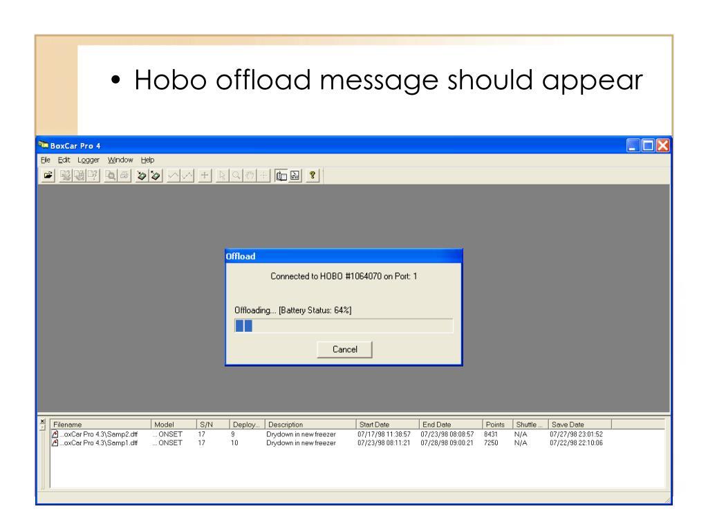 Hobo offload message should appear