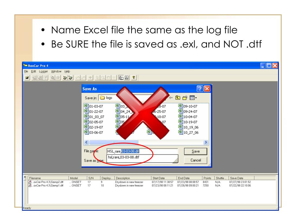 Name Excel file the same as the log file