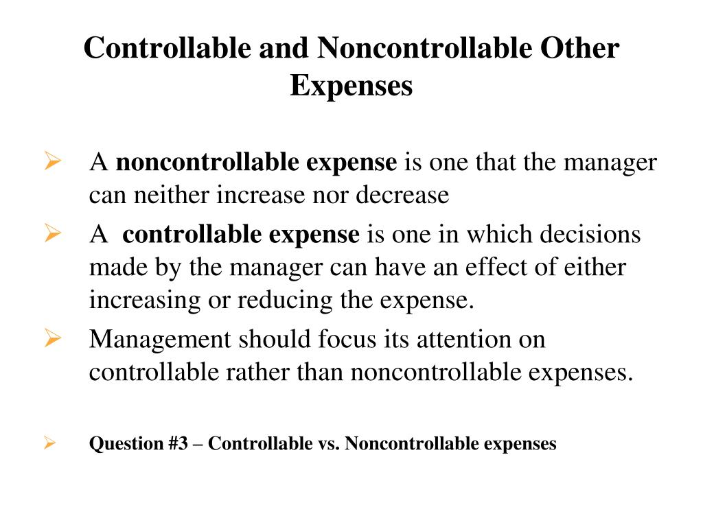 Controllable and Noncontrollable Other Expenses