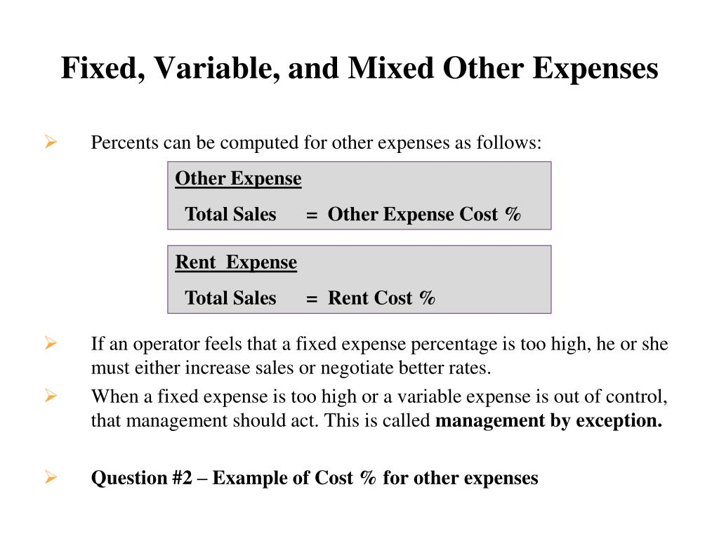 Fixed, Variable, and Mixed Other Expenses