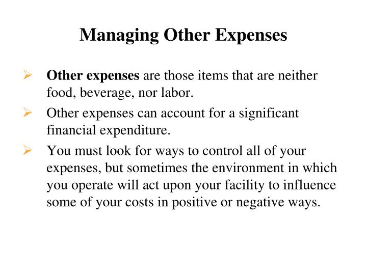 Managing other expenses
