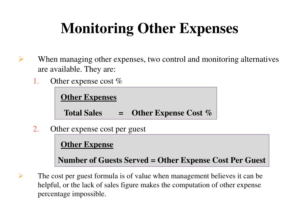 Monitoring Other Expenses