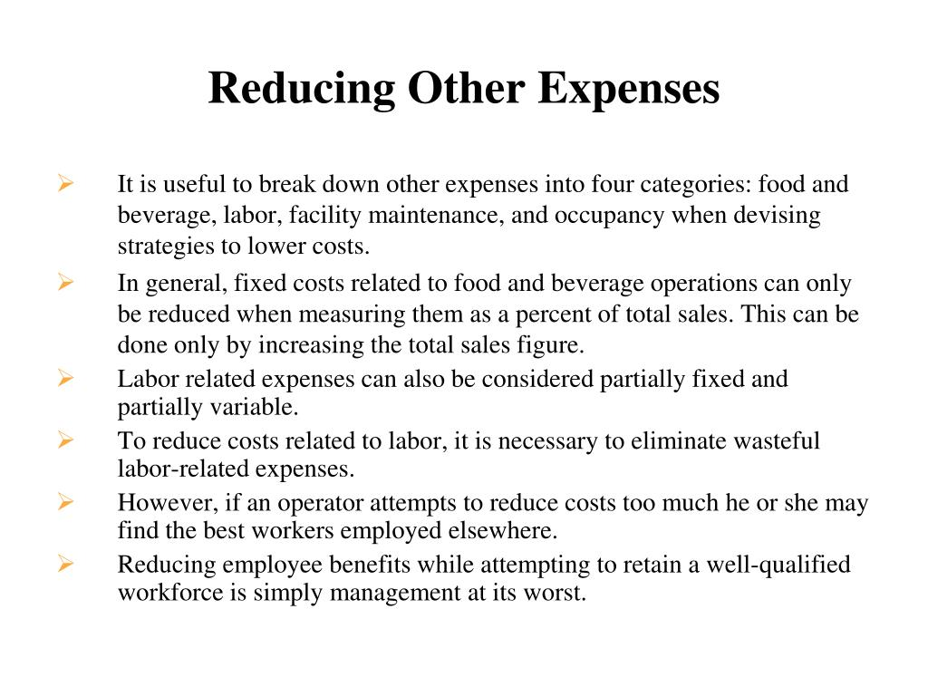Reducing Other Expenses