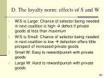 d the loyalty norm effects of s and w80