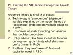 iv tackling the nic puzzle endogenous growth theory
