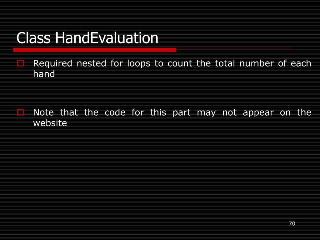 Class HandEvaluation