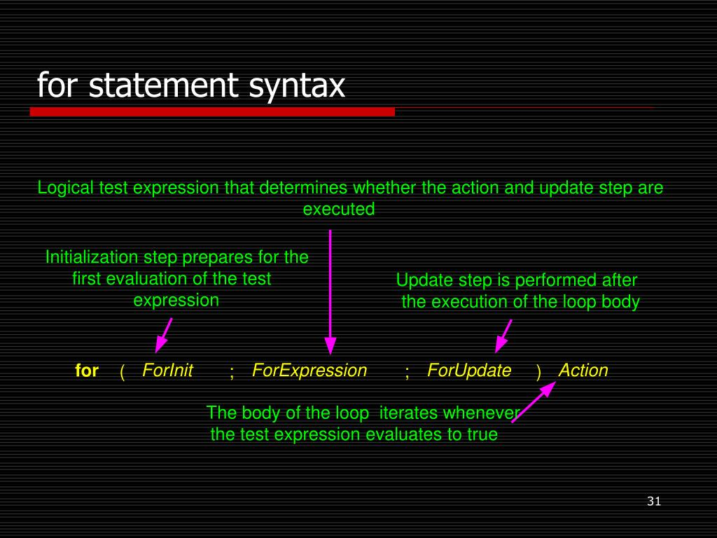 Logical test expression that determines whether the action and update step are
