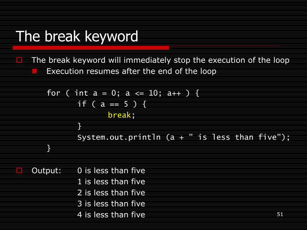 The break keyword