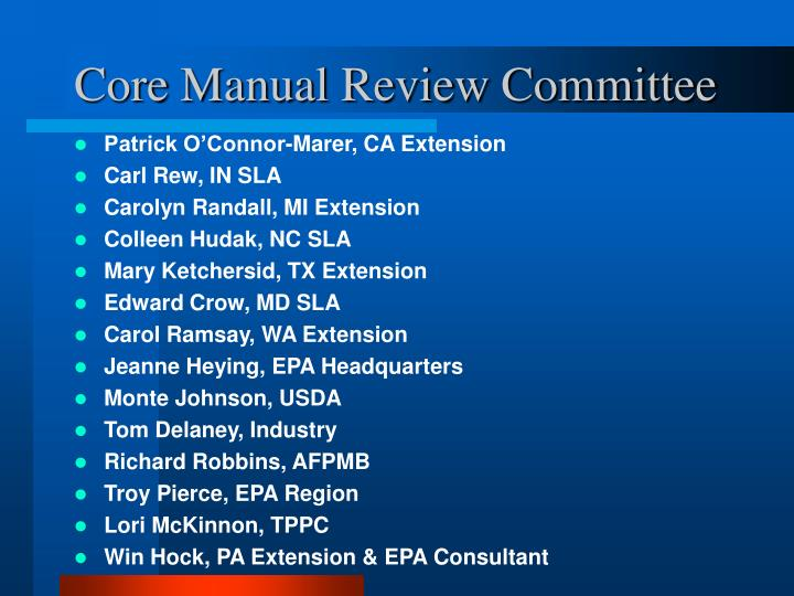 Core manual review committee