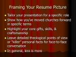 framing your resume picture