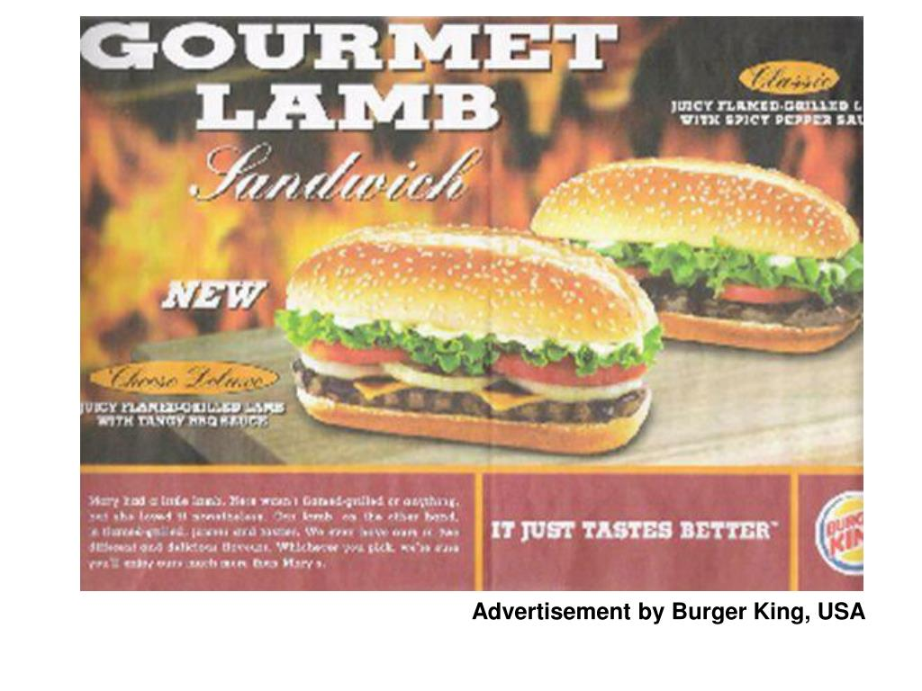 Advertisement by Burger King, USA