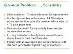 greatest problem sensitivity