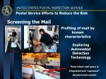 postal service efforts to reduce the risk