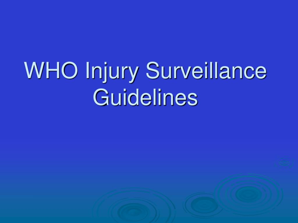 WHO Injury Surveillance Guidelines