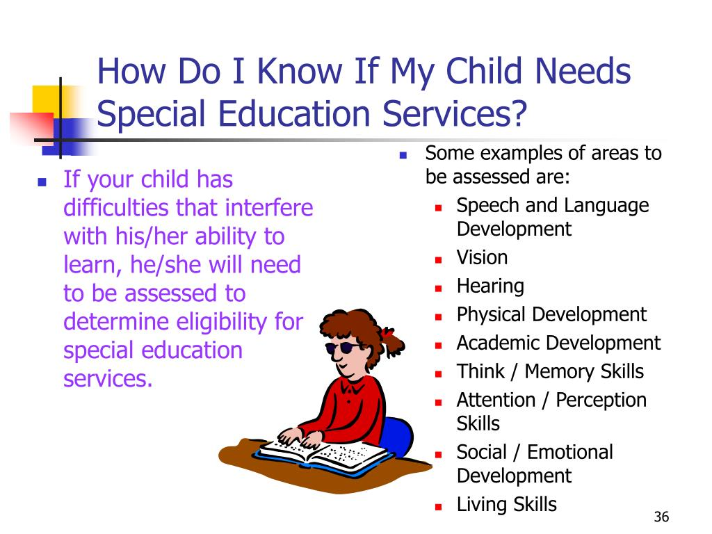 If your child has difficulties that interfere with his/her ability to  learn, he/she will need to be assessed to determine eligibility for special education services.