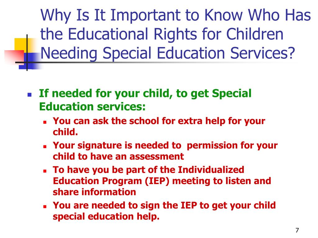 Why Is It Important to Know Who Has the Educational Rights for Children Needing Special Education Services?