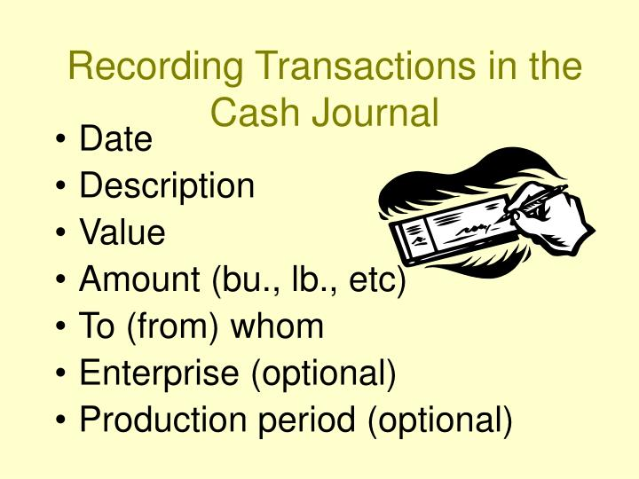Recording transactions in the cash journal