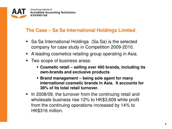 the analysis of sa sa international The following slide deck was published by samsonite international sa in conjunction with their 2018 q2 earnings call 125 click to enlarge notes: the following slide deck was published by.