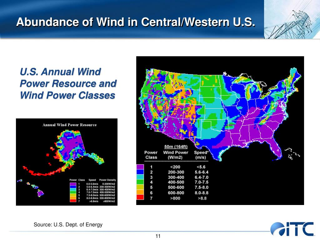 Abundance of Wind in Central/Western U.S.