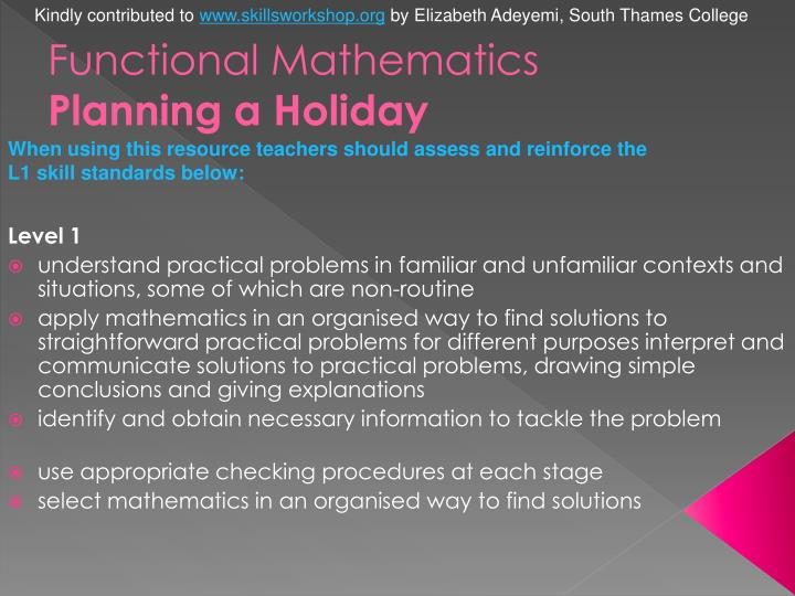 Functional mathematics planning a holiday2