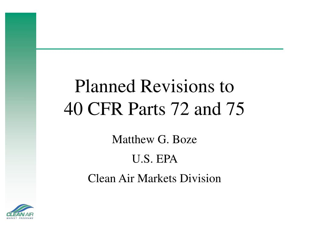 planned revisions to 40 cfr parts 72 and 75 l.
