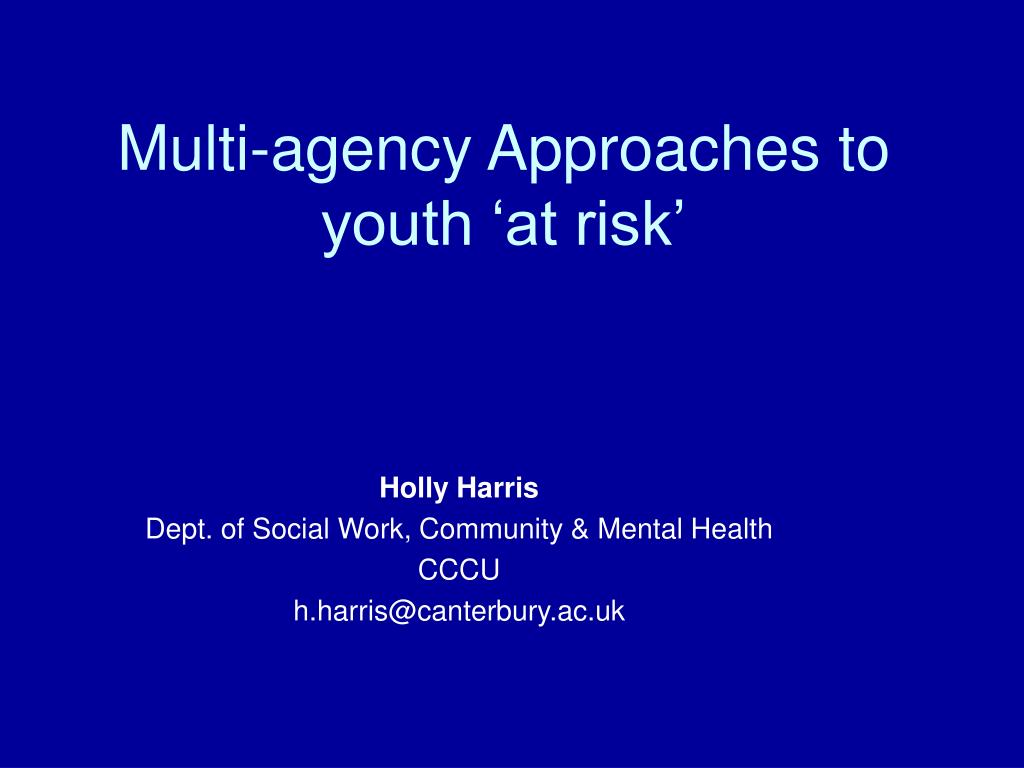 multi agency approaches to youth at risk l.