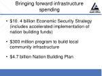 bringing forward infrastructure spending