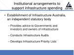 institutional arrangements to support infrastructure spending