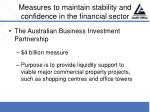 measures to maintain stability and confidence in the financial sector