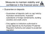 measures to maintain stability and confidence in the financial sector30