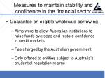 measures to maintain stability and confidence in the financial sector31