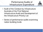 performance audits of infrastructure expenditure