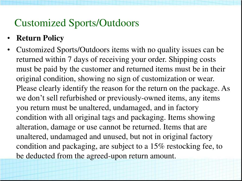 Customized Sports/Outdoors