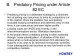 b predatory pricing under article 82 ec