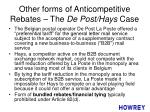 other forms of anticompetitive rebates the de post hays case
