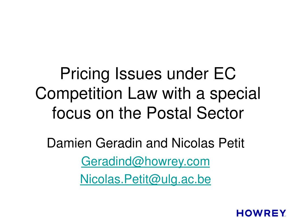 pricing issues under ec competition law with a special focus on the postal sector l.