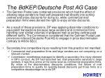 the bdkep deutsche post ag case
