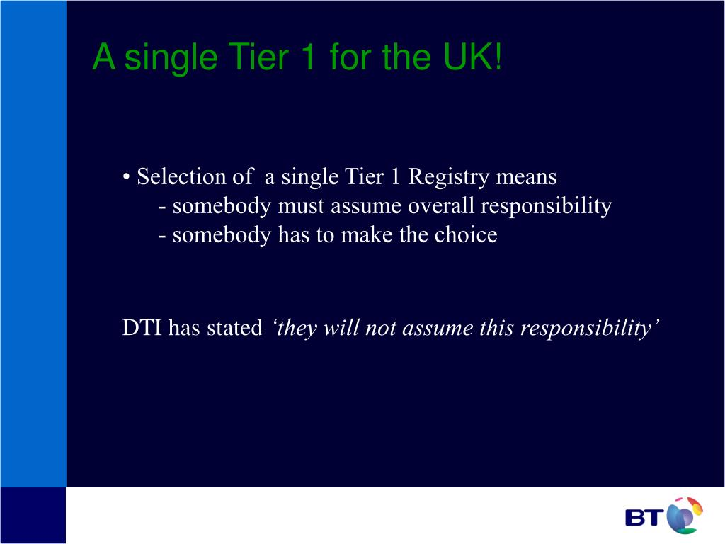 A single Tier 1 for the UK!