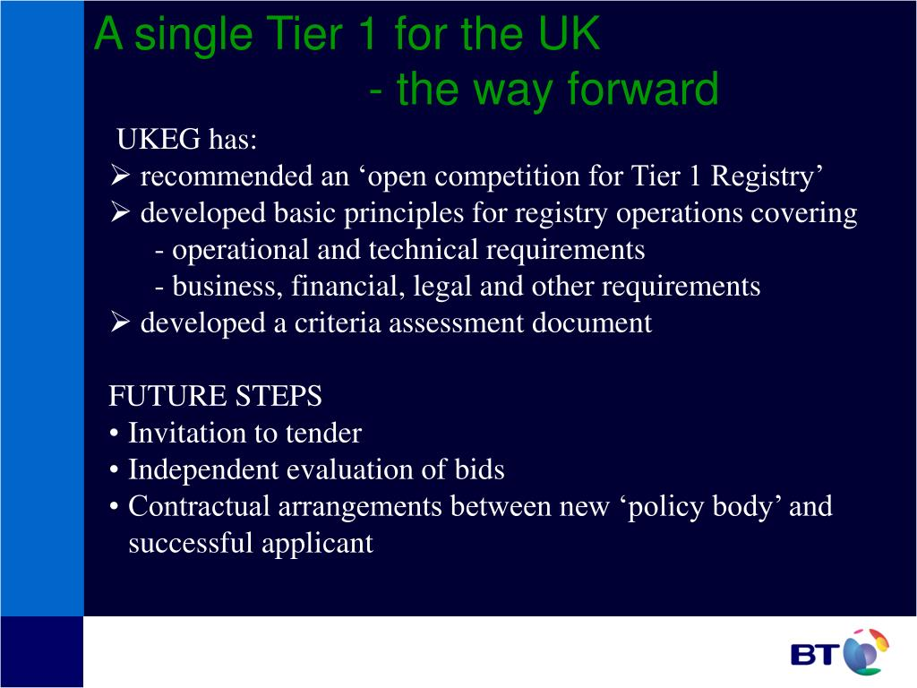 A single Tier 1 for the UK