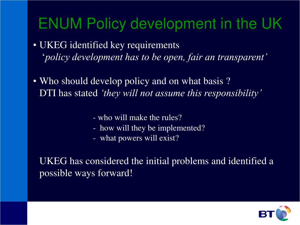 ENUM Policy development in the UK