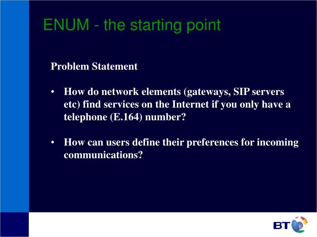 ENUM - the starting point