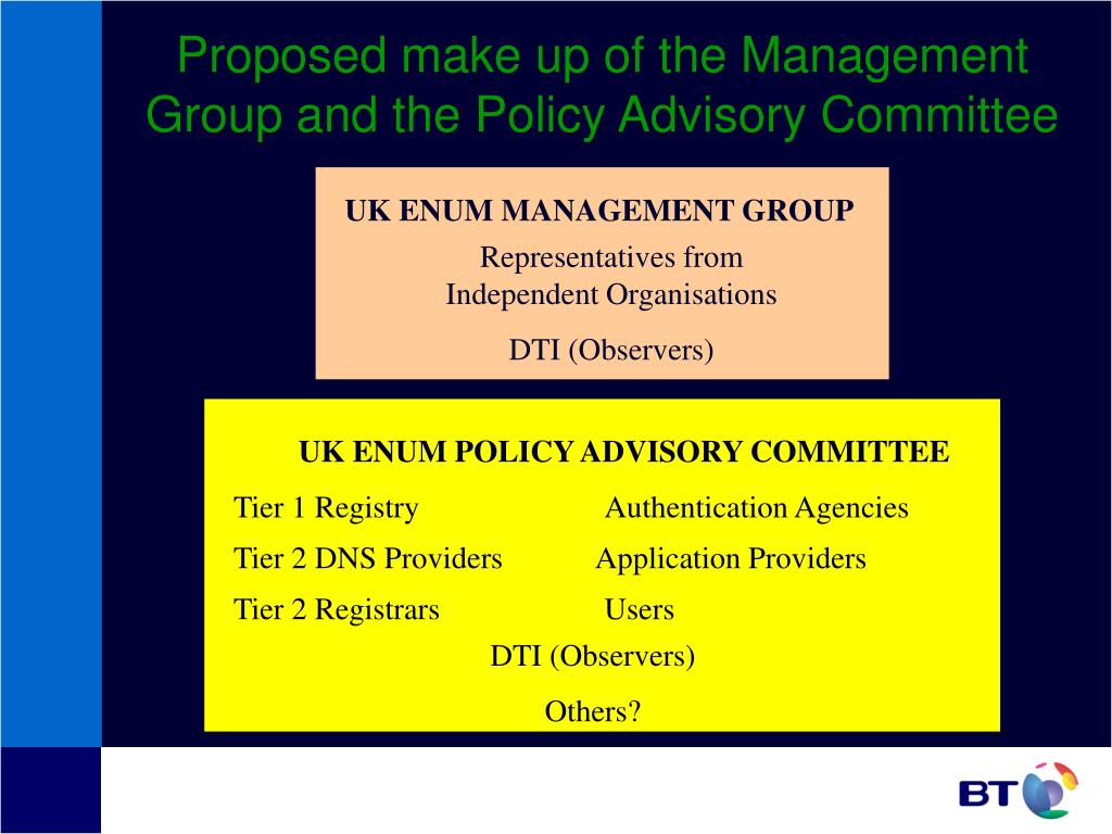 Proposed make up of the Management Group and the Policy Advisory Committee