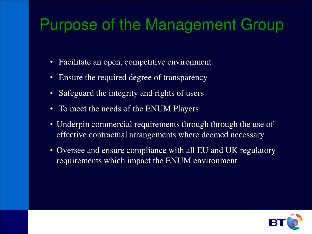 Purpose of the Management Group