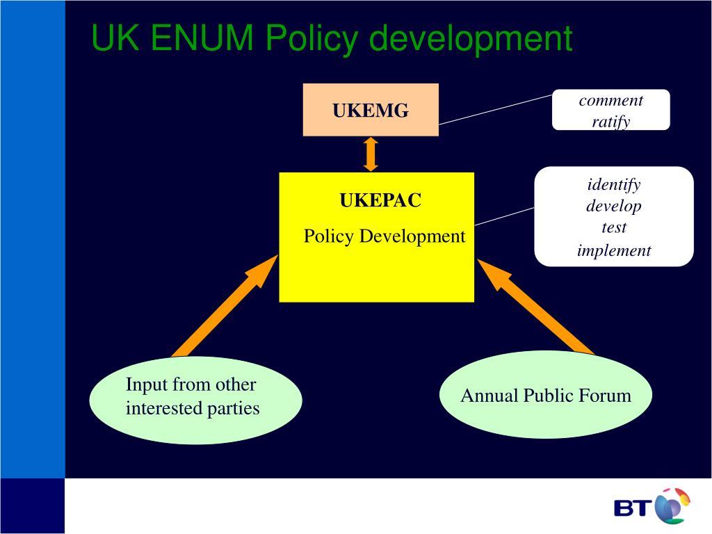 UK ENUM Policy development