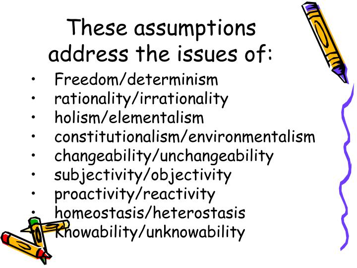 These assumptions address the issues of:
